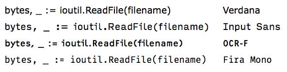 Font comparison: Verdana, Input, OCR-F, Fira Mono